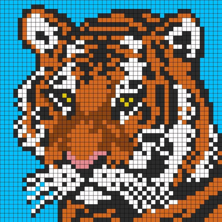 Tiger Face For Perler Or Square Stitch Perler Bead Pattern / Bead Sprite:
