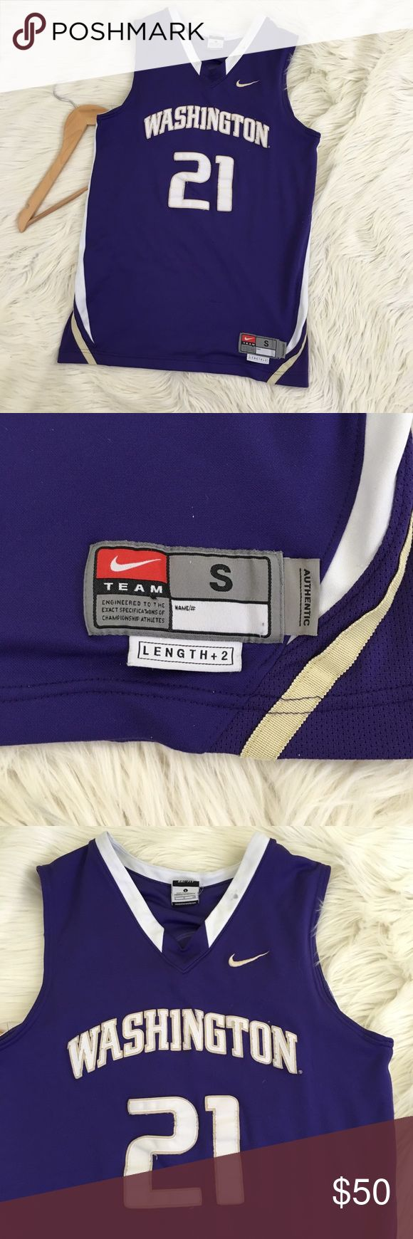 """Washington Huskies Basketball Jersey #21 Nike Team Washington Huskies Nike basketball jersey #21  • Nike • Authentic • Size small w/ length +2 • Purple • Small spot on neck. • Tiny snag. • Otherwise excellent condition.  Length: 28.5"""" Armpit to armpit: 19""""  📌NO lowball offers 📌NO modeling 📌NO trades  Please check out the rest of my closet, I have various brands and ALL different sizes. Some new with tags, others in excellent condition😊 Nike Shirts Tank Tops"""
