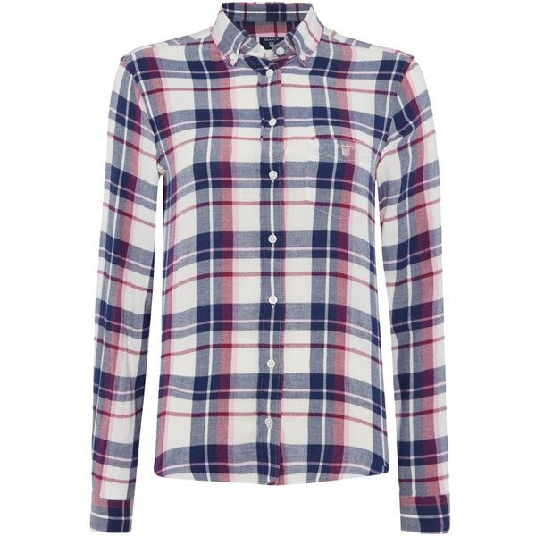 Gant Flannel Check Shirt (£85) ❤ liked on Polyvore featuring tops, pink, women, checkered flannel shirts, gant shirts, pink flannel shirt, checkered top and checkered shirt