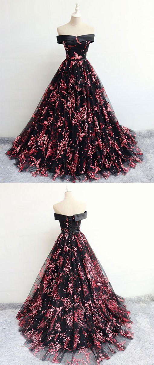 Black tulle lace long prom dress 485d4fcb6d76