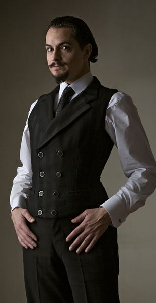 Beau Brummell custom corset vest by Dark Garden, shown in black shadow stripe wool: starts at $1195 / Photo: Joel Aron / Model: Daniel Silveira