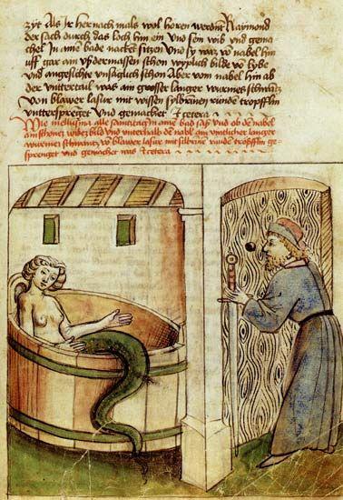 Melusine im Bade by Thüring von Ringoltingen, 1468. Germanisches Nationalmuseum Nürnberg, Germany. Illustration of Couldrette's (1401) verse novel Roman de Mélusine.