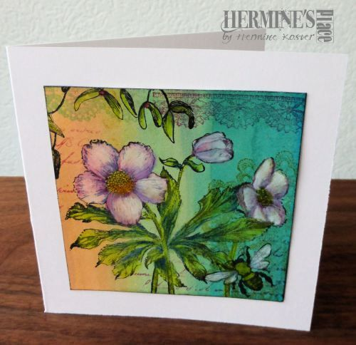 tweede kaart met zijdeverf achtergrond | Hermine's Place
