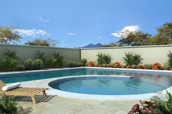 Área de lazer com piscina grande