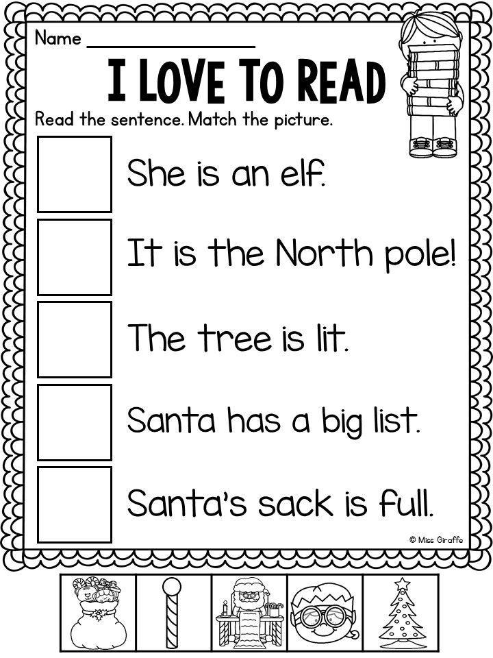 Free Christmas No Prep Worksheets Reading worksheets