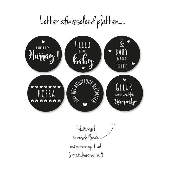 Geboortekaartje Romper Banner Stoer sluitstickers baby - jongen - meisje - hip  - zwart wit
