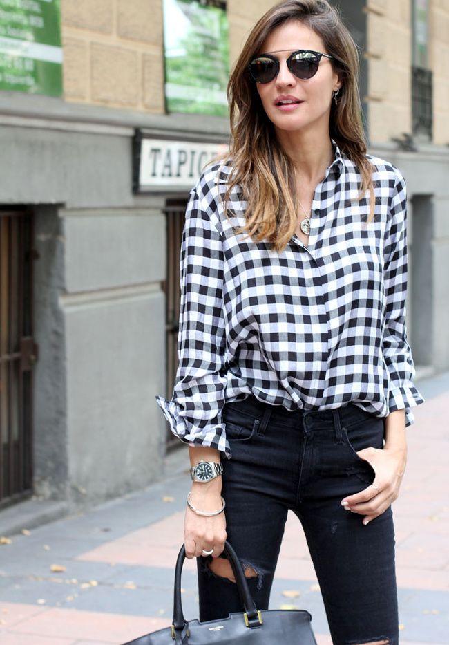 La chemise vichy loose noir et blanc, une bonne alternative à la chemise en jean (chemise Zara - blog Lady Addict)