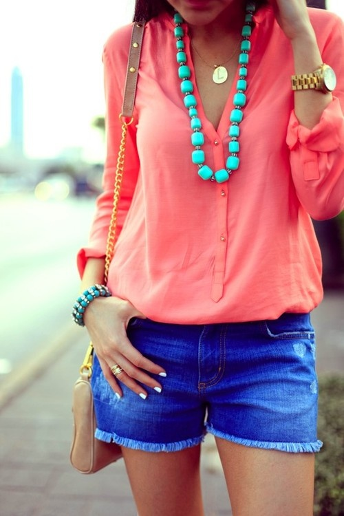 Coral blouse and blue shorts for the warmer months..transition separates