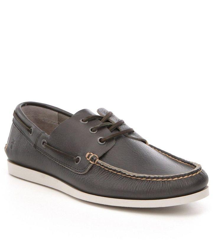 FRYE Men's Briggs Boat Shoe Leather Loafer Slate Grey Slip On Shoes 8 9.5 10 11 #Frye #BoatShoes
