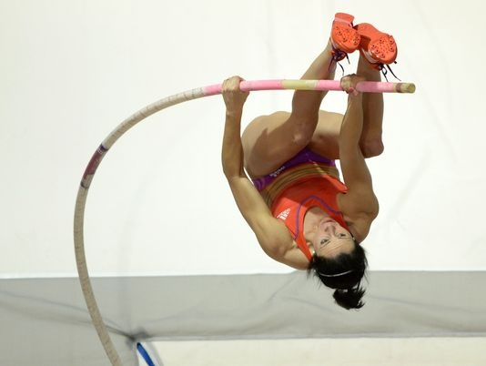 Jenn Suhr, broke the girls inside pole vaulting record