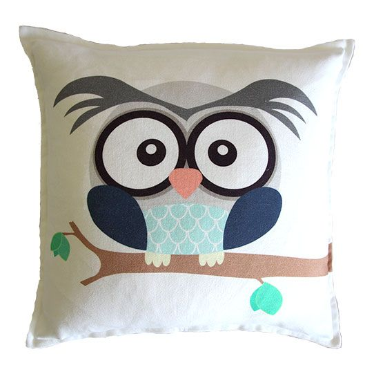 Boy owl scatter cushion on white background from Ruby & Me