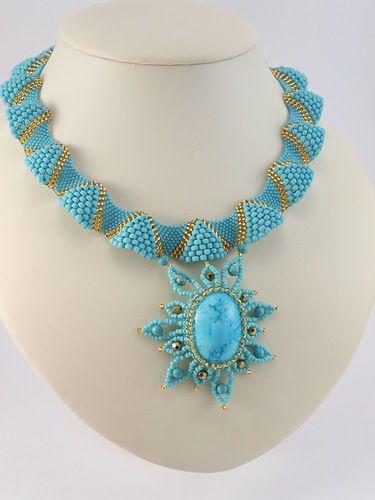 "beaded necklace with bezeled pendant focal - Колье ""Восточное"""