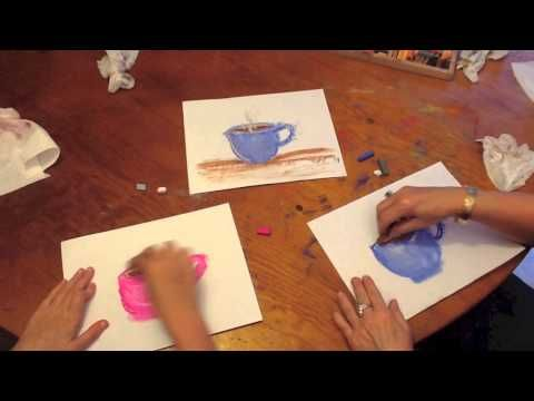 ▶ How to draw a Mug of Hot Chocolate (or coffee!) with a Chalk Pastel Painterly Effect - YouTube