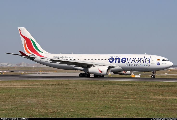 SriLankan Airlines (LK) Airbus A330-243 4R-ALH aircraft, painted in ''oneworld'' special colours May 2014, skating at Germany Frankfurt am Main (Rhein-Main) International Airport. 15/04/2015.