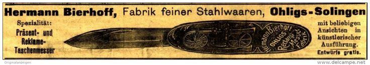 Original-Werbung/ Anzeige 1904 - REKLAME - TASCHENMESSER / STAHLWAAREN BIERHOFF/ OHLIGS - SOLINGEN - Ca. 150 X 25 Mm - Werbung