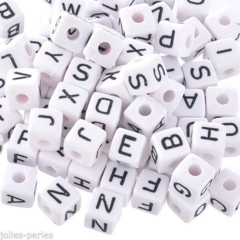 500 Mixed Cubic Acrylic Letter/ Alphabet Beads 10x10mm