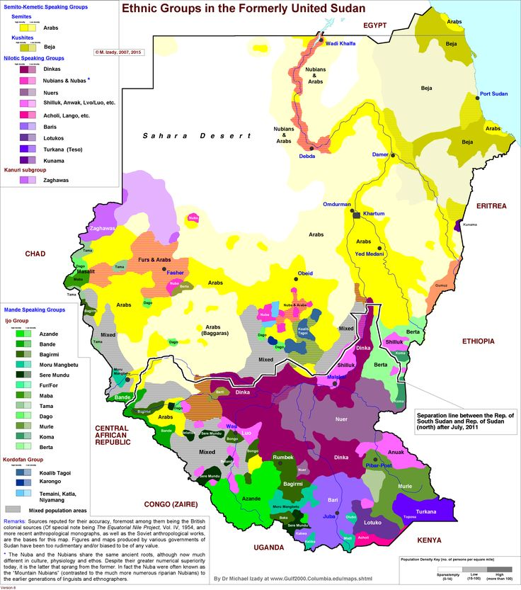 Ethnic map of Sudan and South Sudan