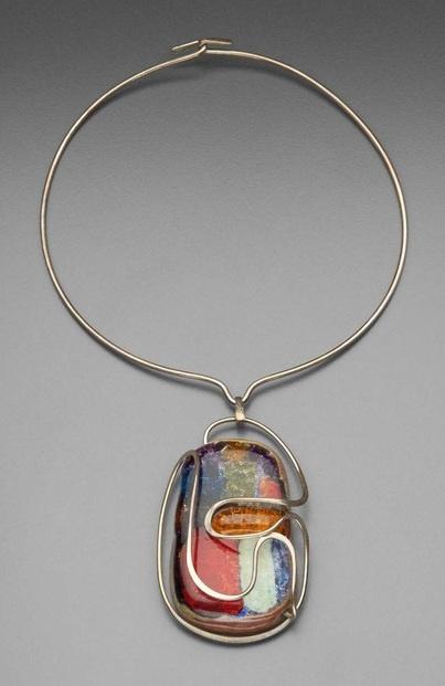 Necklace    Elsa Freund, 1958.  Silver, glass, terracotta.