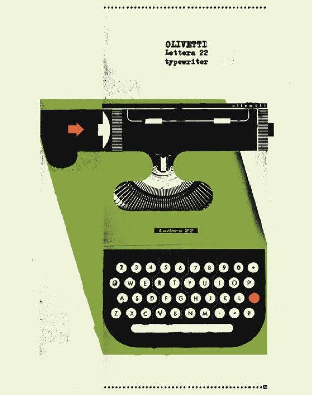 1950's Olivetti Typewriter Poster 12 x 16 by curtmerlo on Etsy, via Etsy.