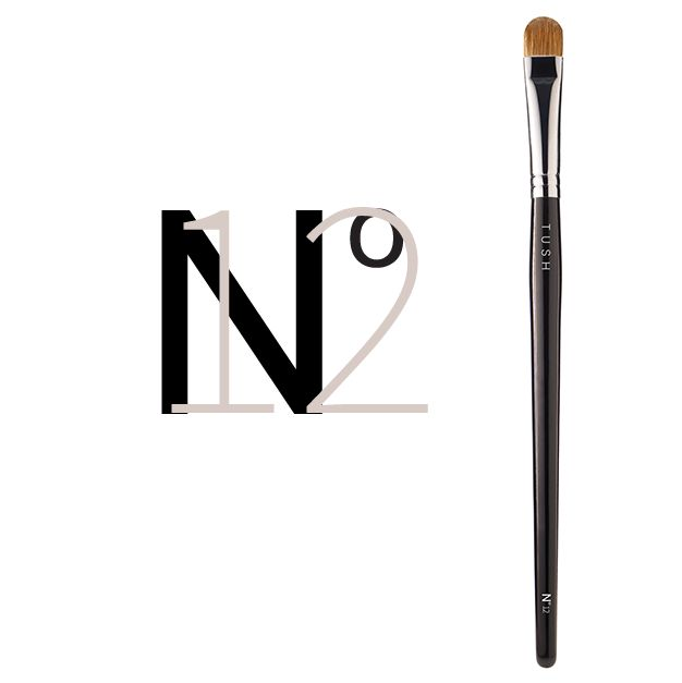 Nr 12 Small Eyeshadow Brush. A slightly smaller sized version of the large eye shadow brush made of natural bristles. The slightly curved shape and soft yet firm bristles allow you to apply, shade and blend any look by playing with light and shadows. Available at www.tushbrushes.com