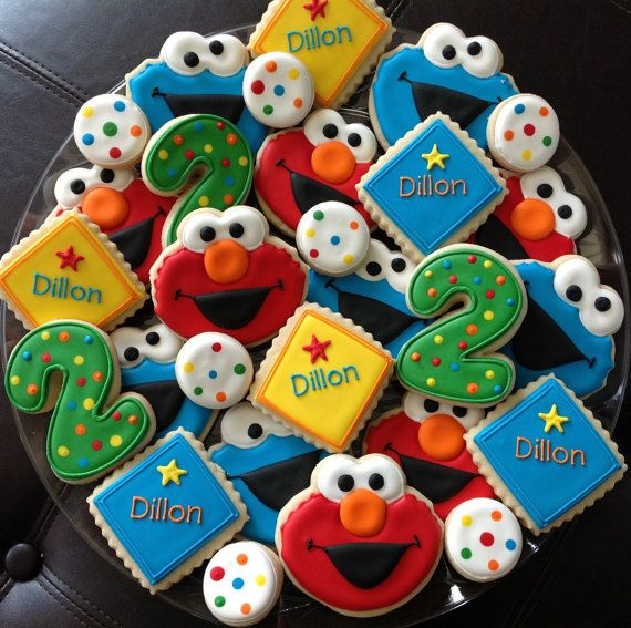 2 dozen Elmo and Cookie Monster Birthday by NatSweetsCookies, $80.00