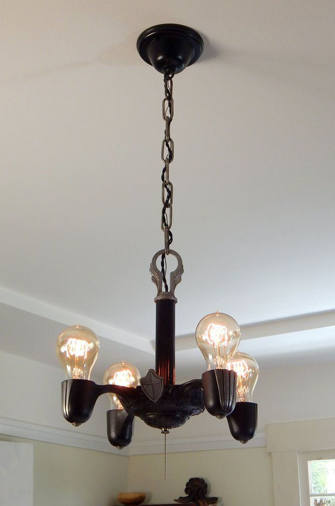 Art Deco Pull Chain Chandelier With Spanish Colonial Revival Influences For 179 99 Free Shipping