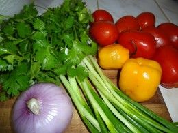 SALSA  Start with onion, cilantro, tomatoes, garlic and hot peppers