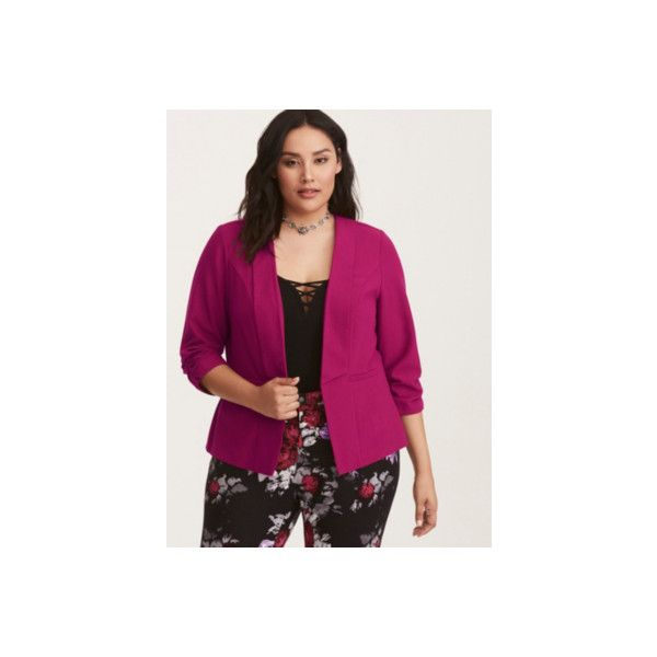 Torrid Crepe Ruched Sleeve Blazer ($44) ❤ liked on Polyvore featuring outerwear, jackets, blazers, plus size, red, plus size blazer jacket, plus size red jacket, crepe blazer, plus size red blazer and women's plus size jackets