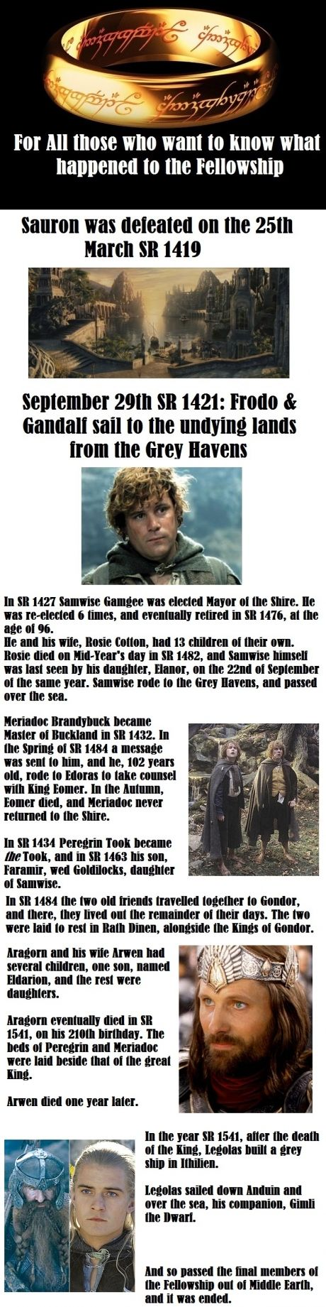 Notice that Samwise was last seen on SEPT. 22 (Bilbo and Frodo's birthday) and then rode to the Grey Havens! Right in the feels...