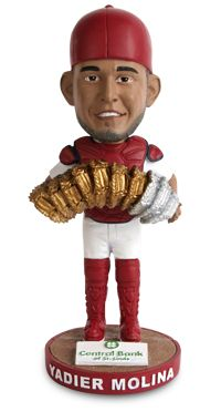 In 2014, Yadier Molina was awarded his seventh consecutive Gold Glove and third Platinum Glove Awards. On Saturday, April 18, you can take home your very own Yadier Molina Gold and Platinum Gloves Bobblehead courtesy of Central Bank of St. Louis.