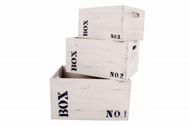 Box Förvaringslåda 3St Grå-Vit - Chilli