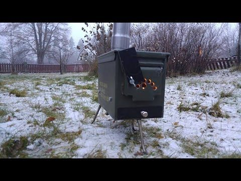 Making a ammo box tent stove without welding - YouTube