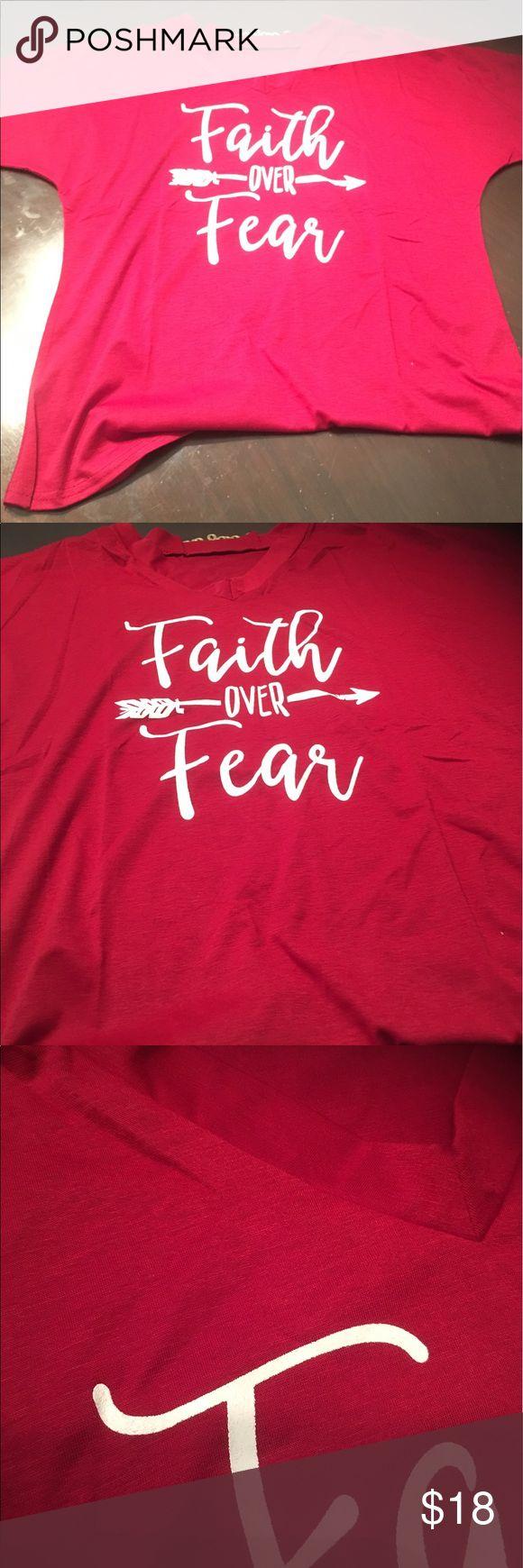 Faith over fear t shirt Small in black and white medium in black and white large in red and white xl in red and white. Good quality v neck Tops Tees - Short Sleeve