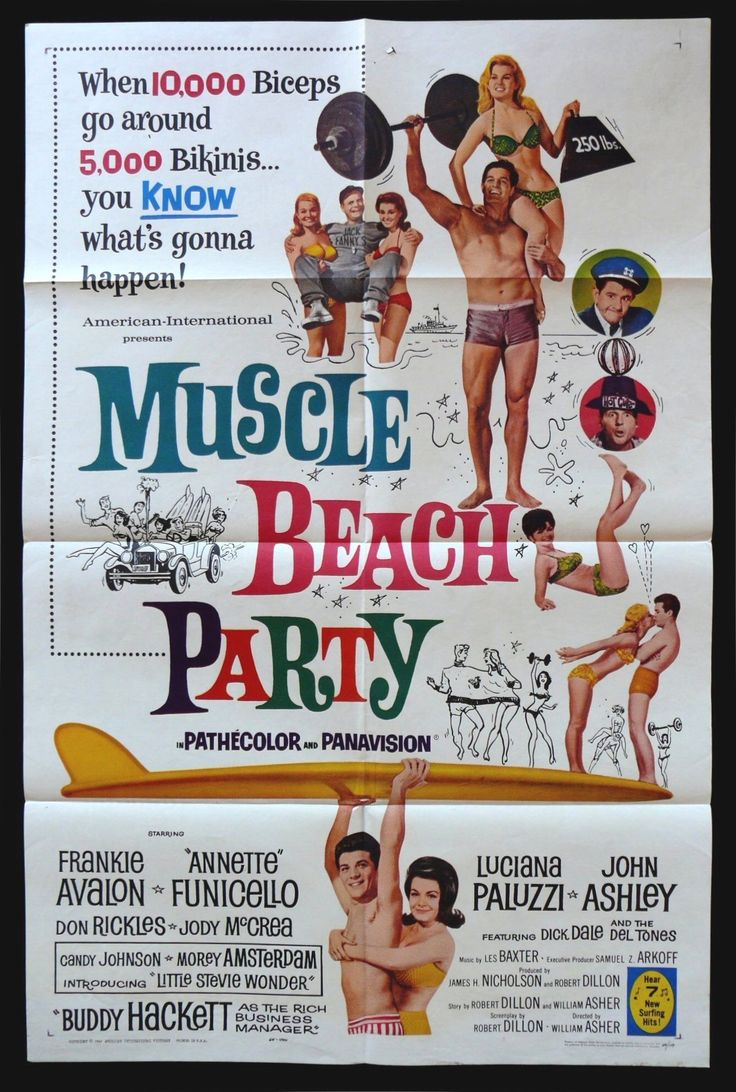 Happy Birthday #AnnetteFunicello https://eartfilm.com/products/original-vintage-movie-poster-84 #actors #singers #singing #muscle #muscles #beach #disney #beachparty #posters  Muscle Beach Party 1964 27x41 One Sheet United States