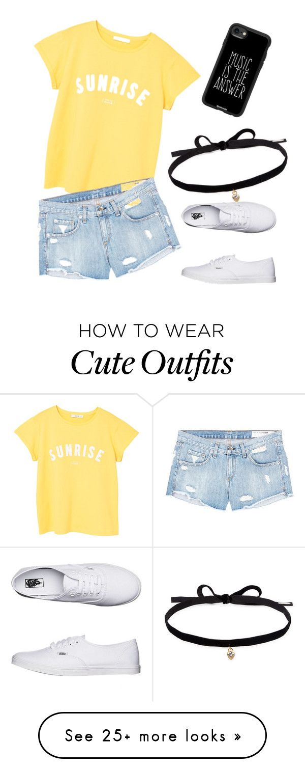 """""""Cute, basic outfit"""" by karina-delong on Polyvore featuring MANGO, rag & bone/JEAN, Vans, Joomi Lim and Casetify"""