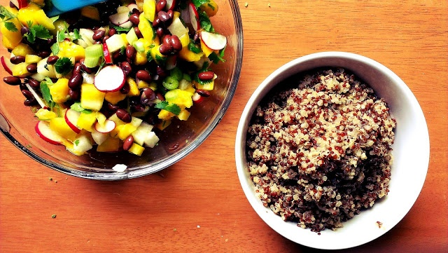 quinoa salad with mango, radish, black beans and lime  zweites Frühstück - second breakfast