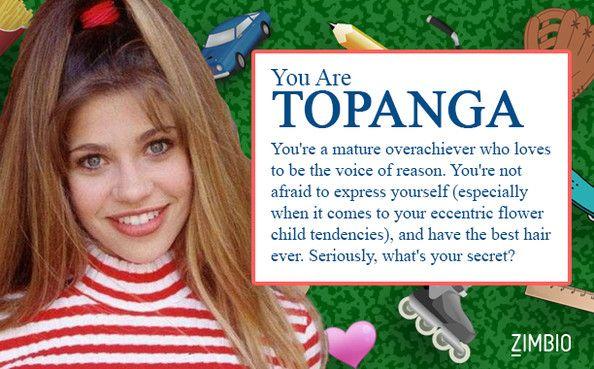 I took Zimbio's 'Boy Meets World' quiz and I'm Topanga! Who are you? #ZimbioQuiz