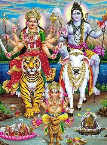.Ma Durga, Shiva and Ganesh