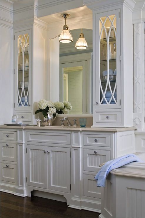 Kitchens By Deane Traditional White Bathroom With White Beadboard Cabinets Paired With Crema Marfil Marble