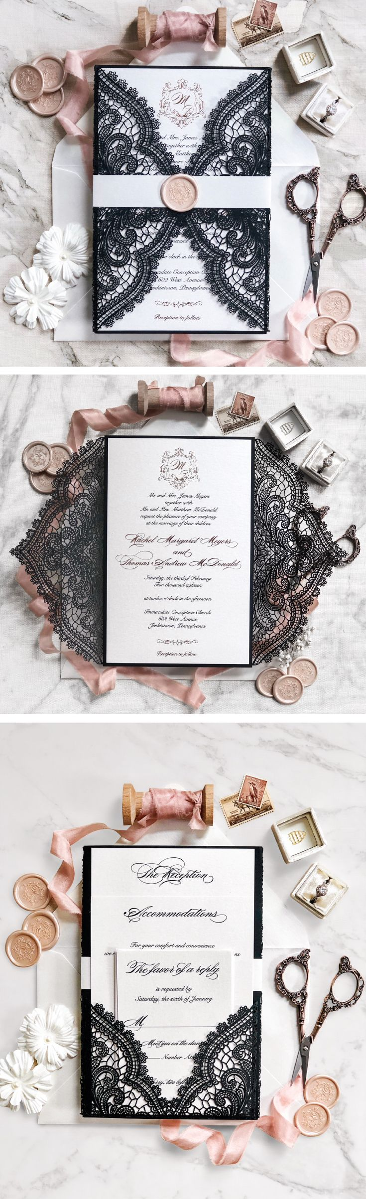 Best 25 natural wedding stationery ideas on pinterest rustic an elegant laser cut chantilly lace gatefold wedding invitation with rose gold foiling and black monicamarmolfo Choice Image
