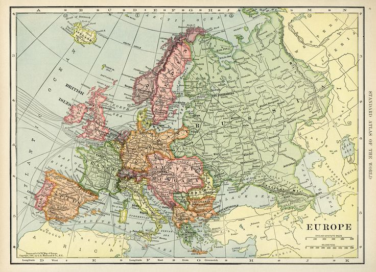 Europe map, vintage map download, antique map, C. S. Hammond, history geography Europe