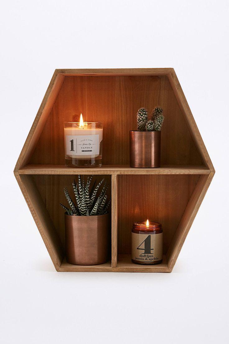 Slide View: 1: Wood Honeycomb Shelf