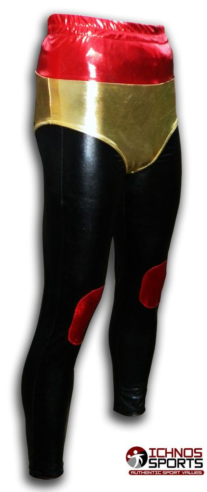 Luchadora adult Mexican Lucha Libre Wrestling tights pants black red gold in…