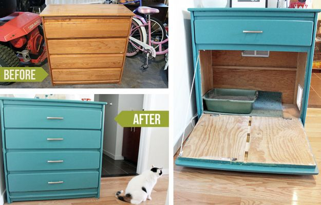 Repainted Shelf Litter Box Hideaway ~My husband actually posted this to my FB. I think all my pinterest activity is wearing off on him!