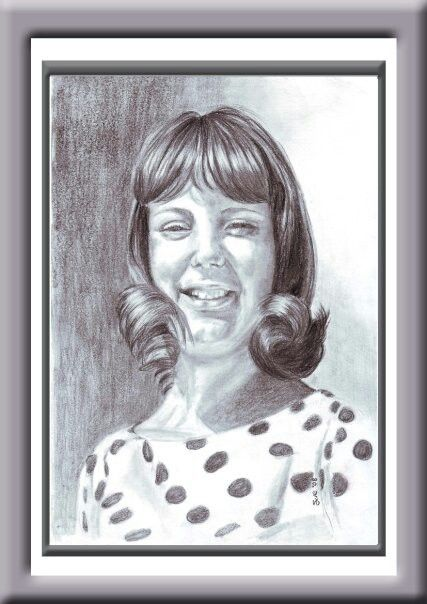 Elaine, as a young girl. Pencil on 300gsm paper,   297x420mm. Drawn by Susan Brett