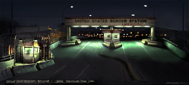 Gregory L Hill's design for the border crossing in No Country for Old Men, 2007, dir. Joel & Ethan Coen.