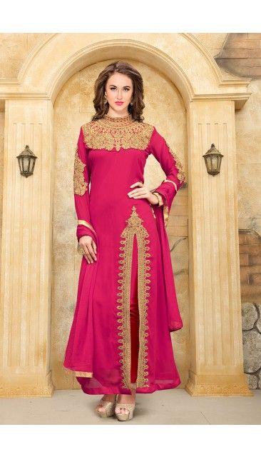 Rani Pink Faux Georgette Churidar Suit With Dupatta - DMV14935
