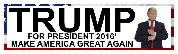 Trump for president 2016 make america great again 8 x 2 bumper sticker