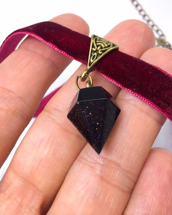 Resin crystal velvet choker resin diamond necklace space pendant resin crystal choker cherry choker dark red choker with resin diamond