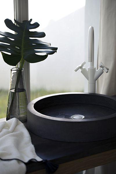grey stone washbasin by marmo spirito